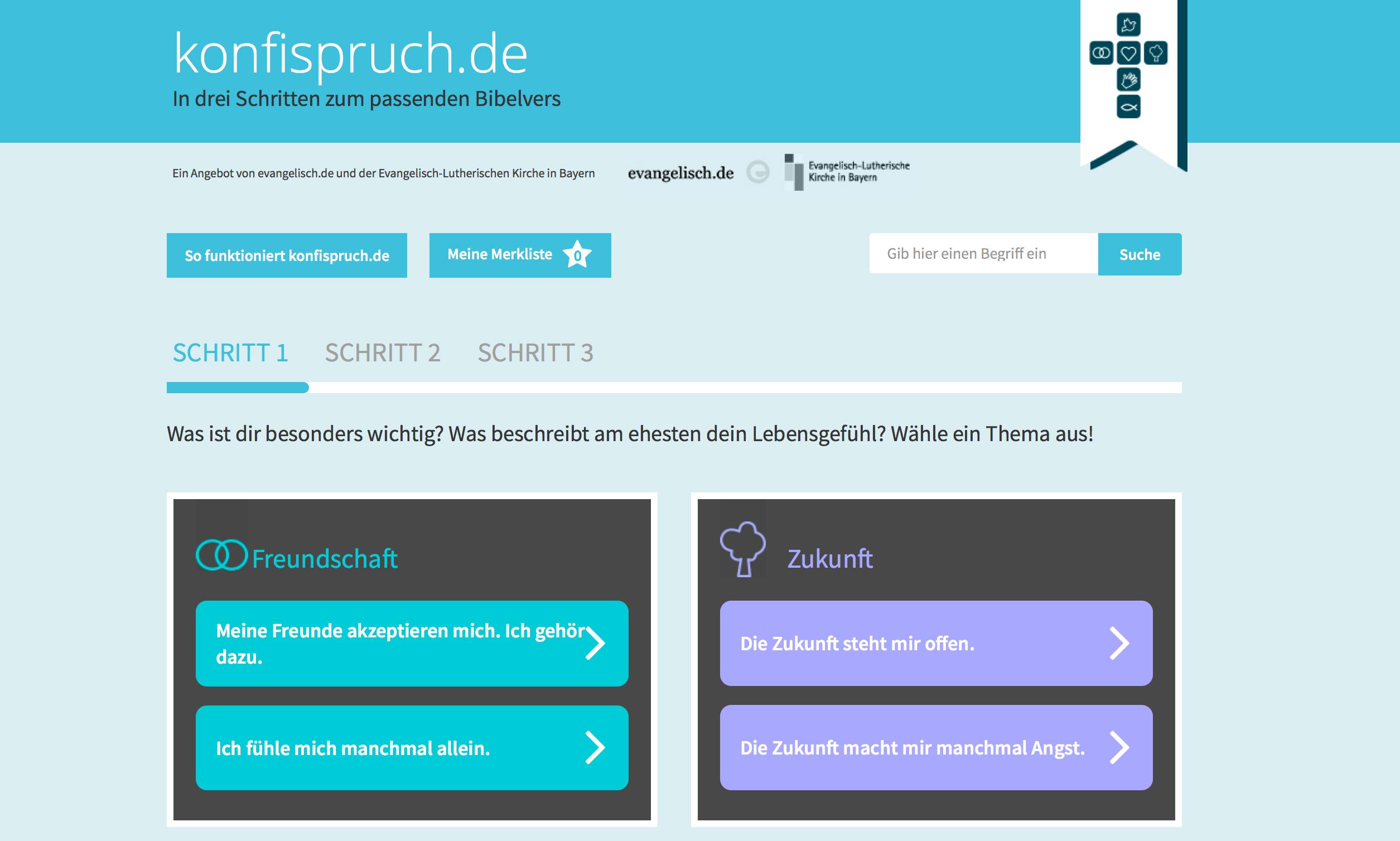 Neuer Service: Mit den Portalen www.taufspruch.de, www.trauspruch.de und www.konfispruch.de in nur drei Schritten den passenden Bibelvers finden.